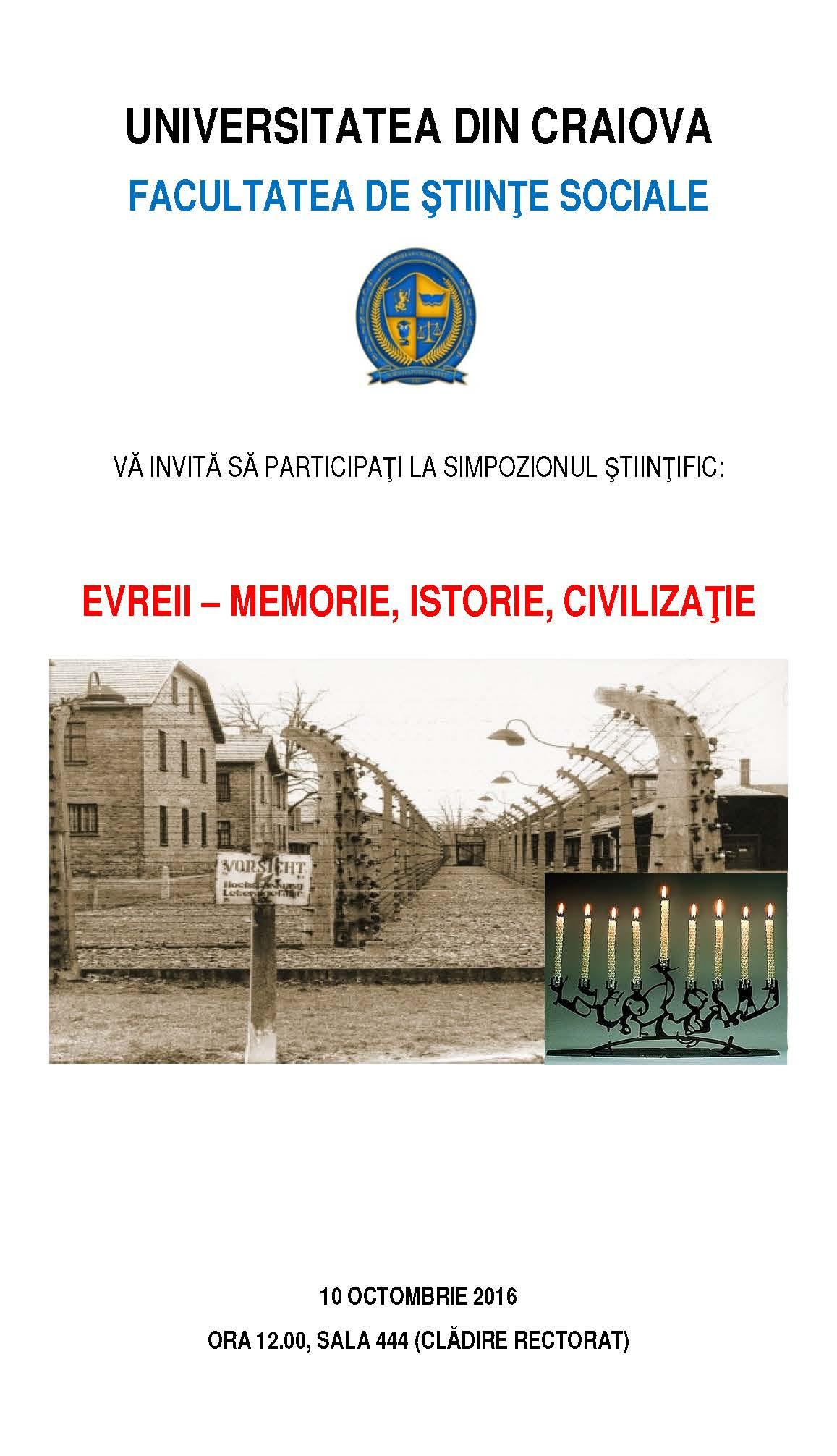 Workshop dedicat zilei naţionale de comemorare a Holocaustului la FACULTATEA DE ȘTIINȚE SOCIALE