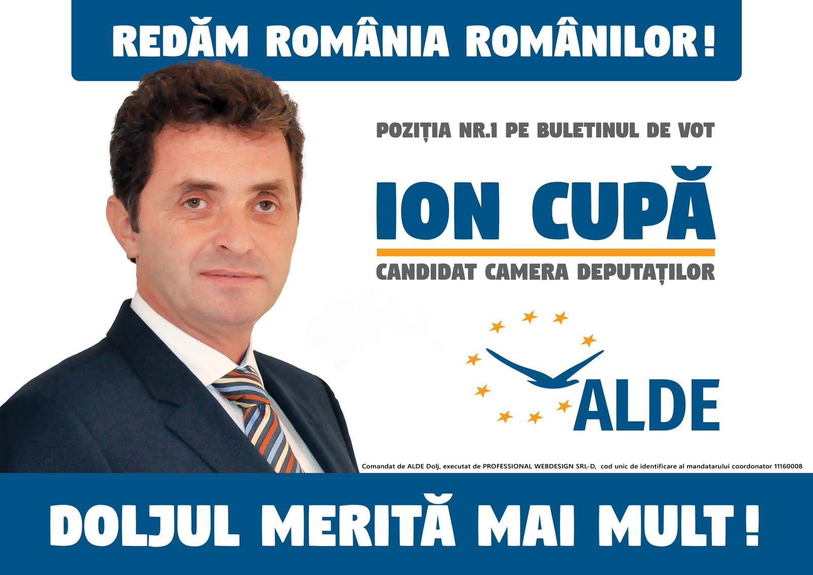 """Ion Cupă, preşedinte ALDE DOLJ: """"În România guvernată de noi pensiile nu vor rămâne sub limita supravieţuirii"""""""