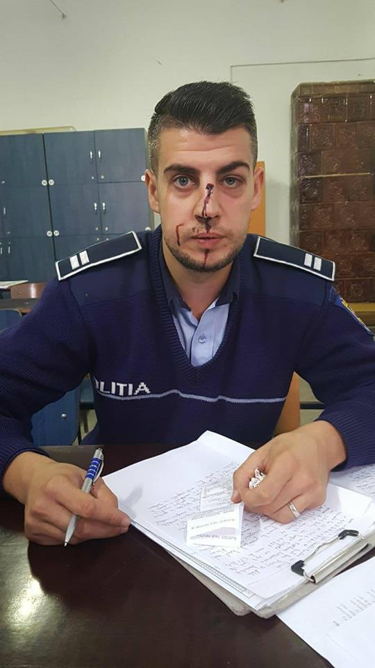 Polițist lovit de un șofer beat