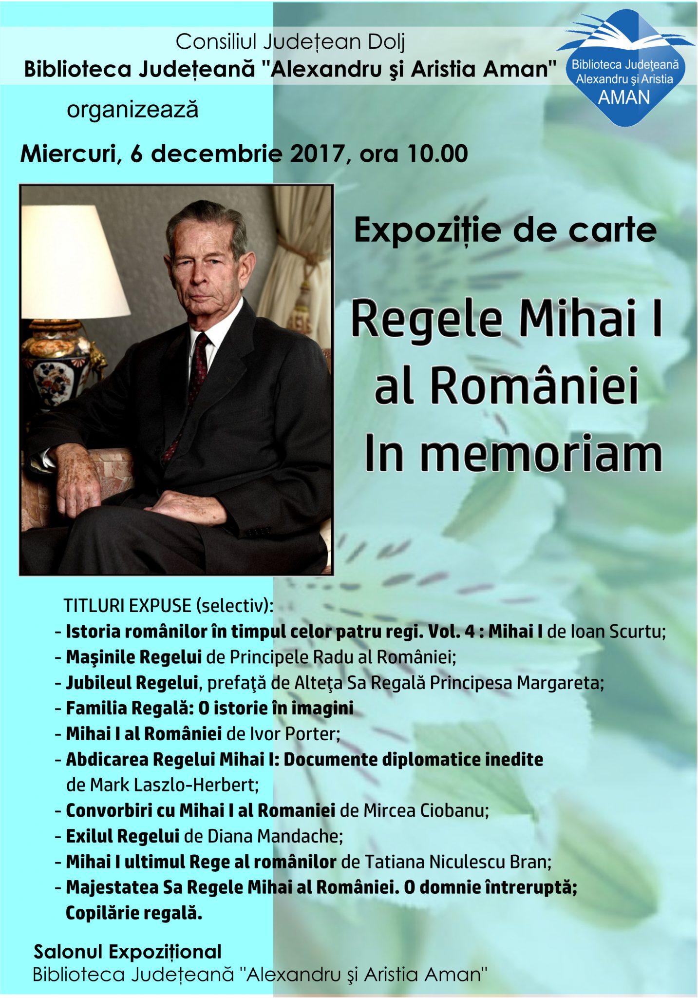 Expoziție de carte dedicată M.S. Regele Mihai I al României