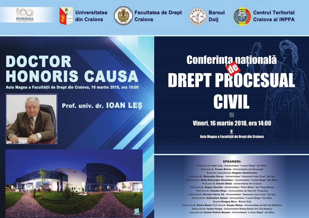 Conferința Națională de Drept Procesual Civil, Craiova, 16 martie 2018