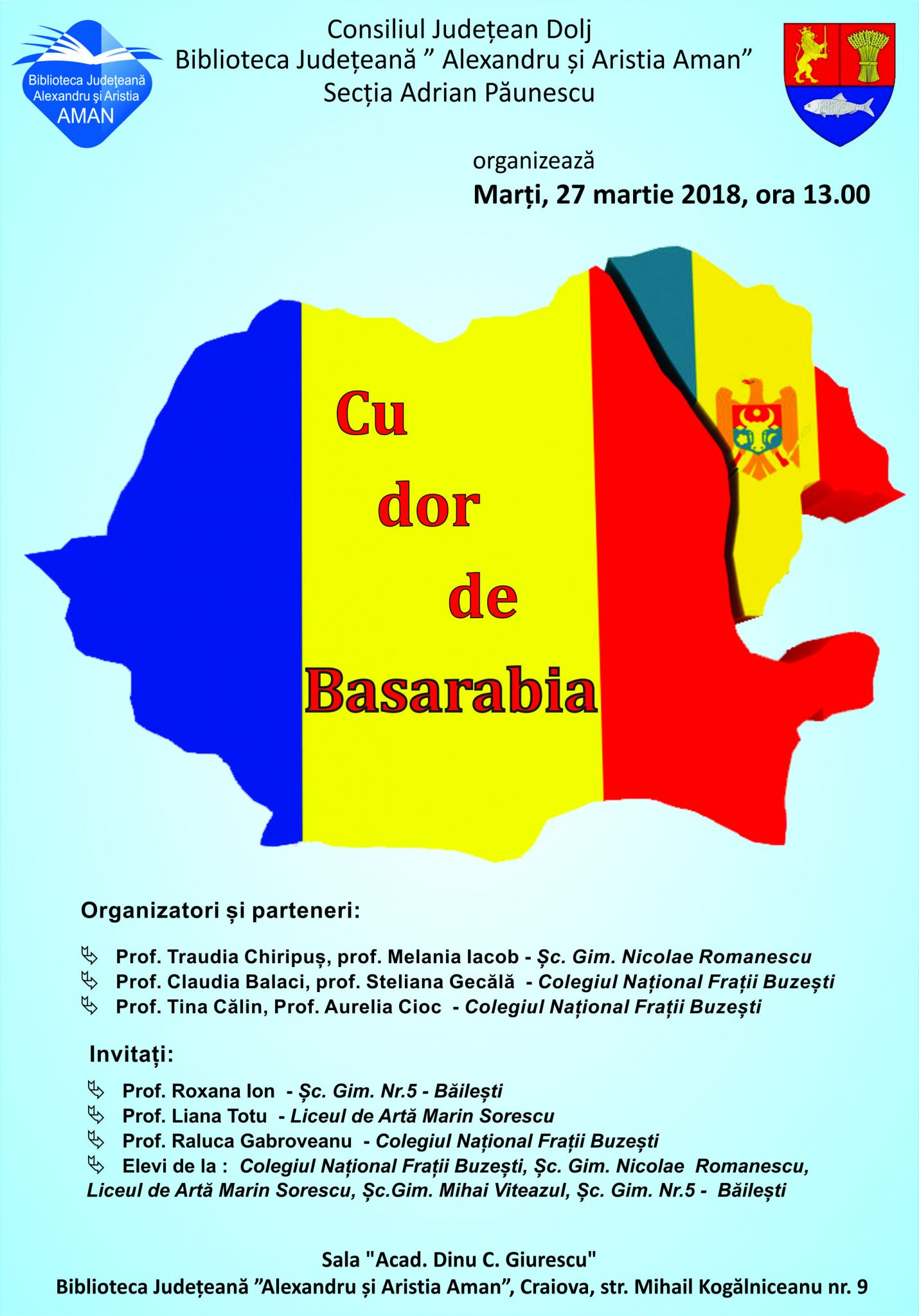 """Craiova: Biblioteca """"Aman"""" găzduieşte acțiunea """"Cu dor de Basarabia"""""""