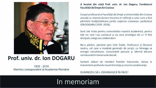 Profesorul Ion Dogaru a incetat din viata
