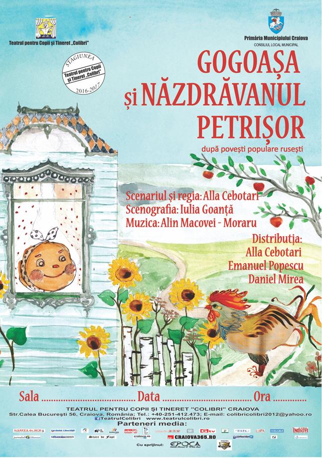 Gogoașa și Năzdrăvanul Petrișor și Povestea celor trei purceluși  în weekend, la Teatrul Colibri
