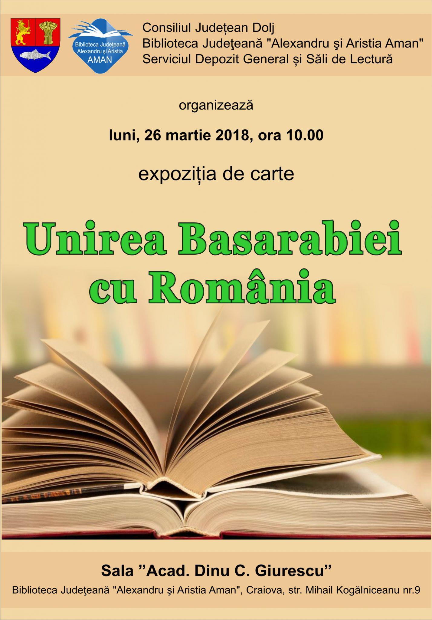 """Craiova: Expoziție de carte """"Unirea Basarabiei cu România"""""""