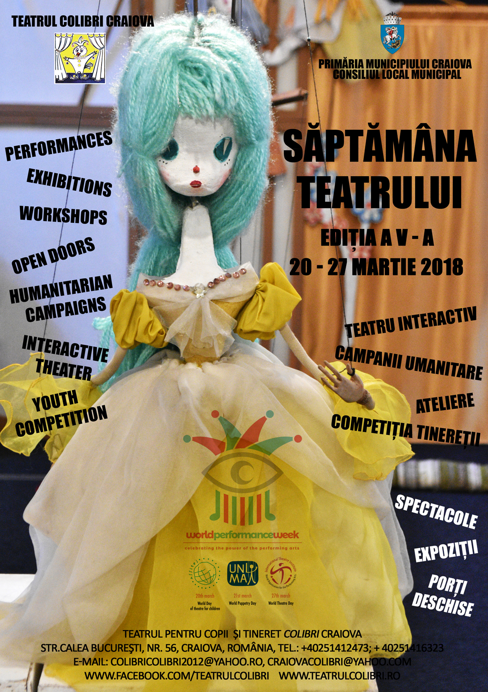 Spectacole, ateliere, expoziție, Competiția Tinereții, în week-end, la Teatrul Colibri