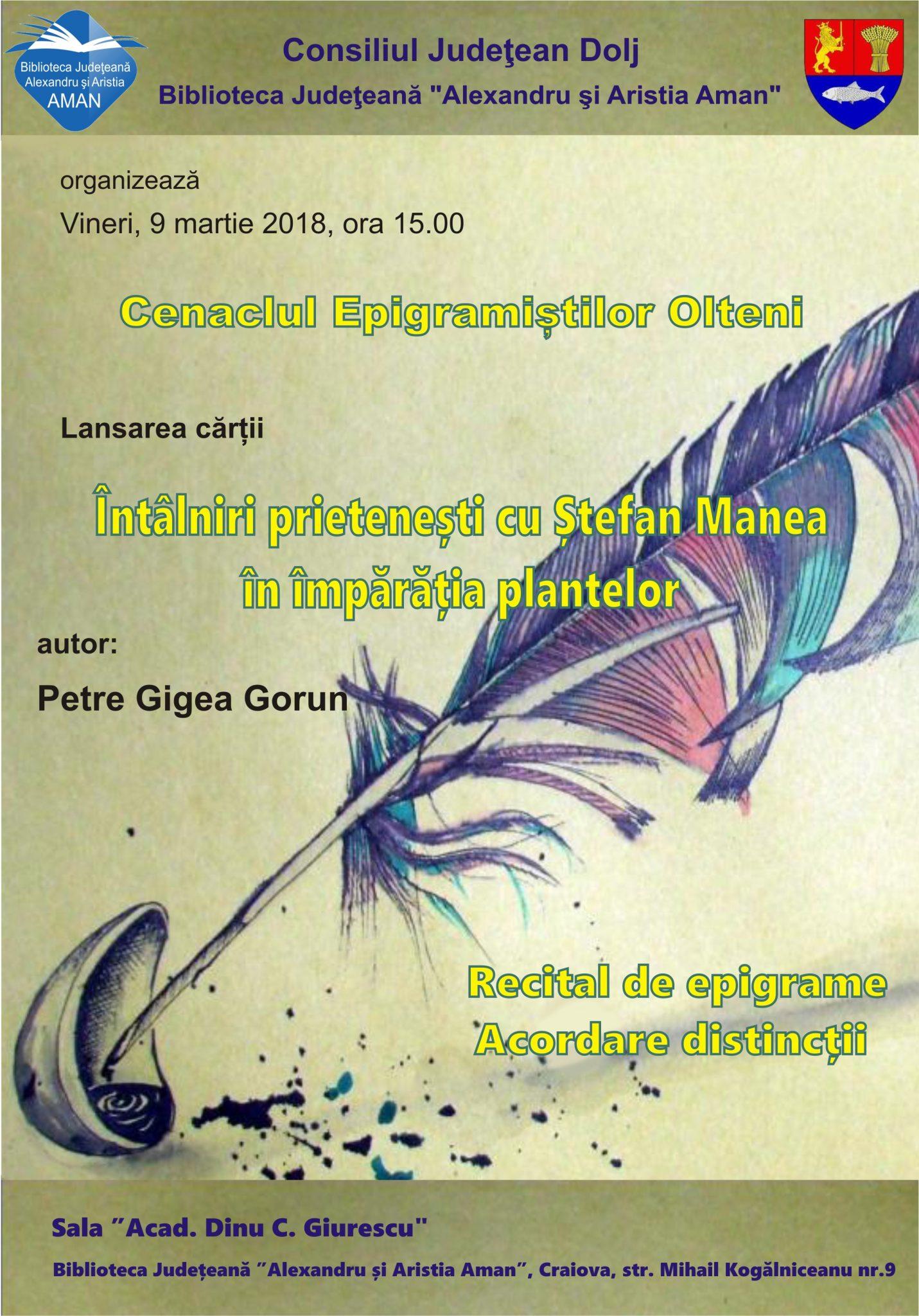 """Craiova: """"Cenaclul Epigramiștilor Olteni"""" la Aman"""
