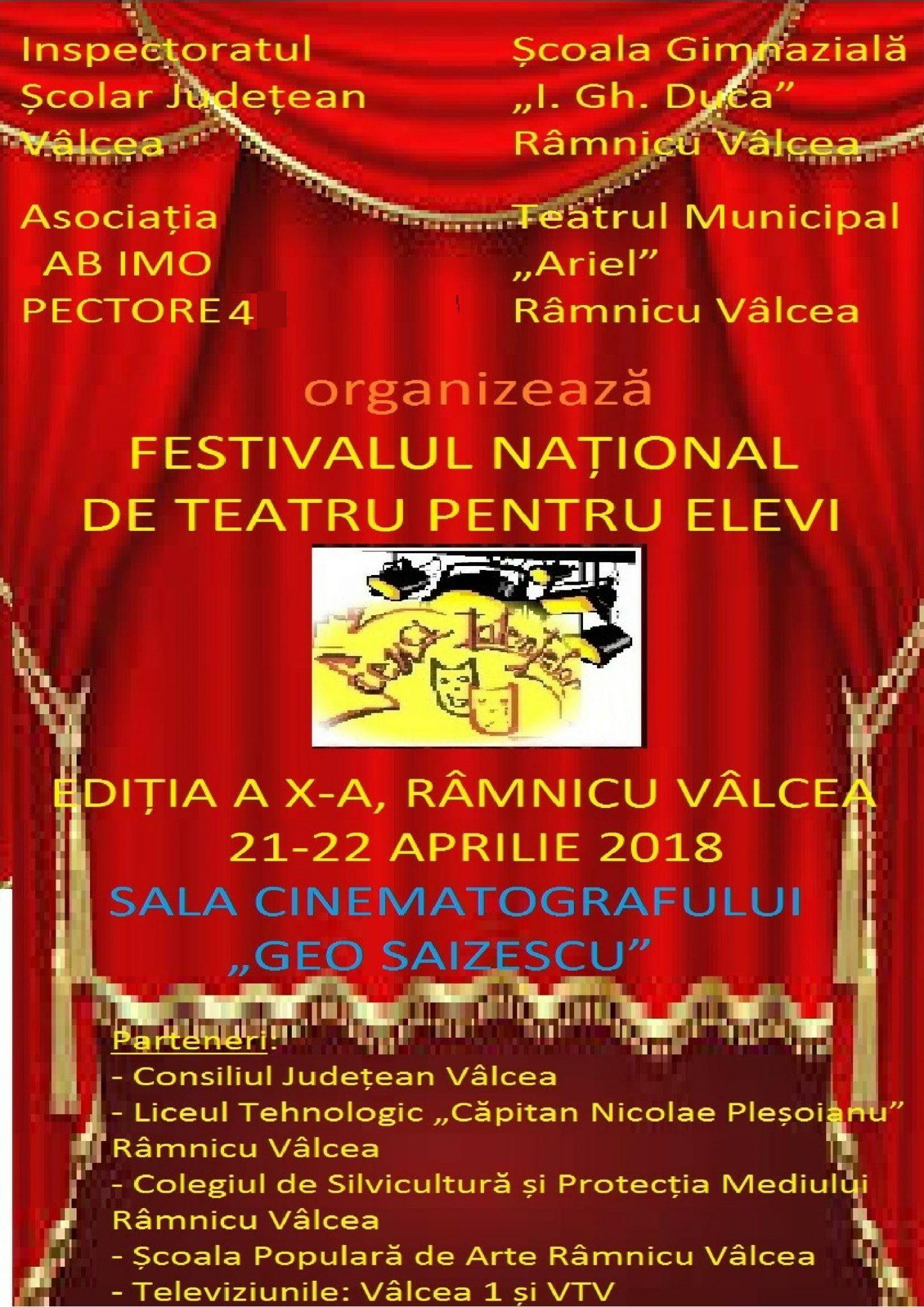 """Teatrul Municipal Ariel Râmnicu Vâlcea vă invită la Festivalul Național de Teatru pentru Elevi """"Scena Talentelor"""" și la comedia """"Piațeta ( Il Campiello)"""""""
