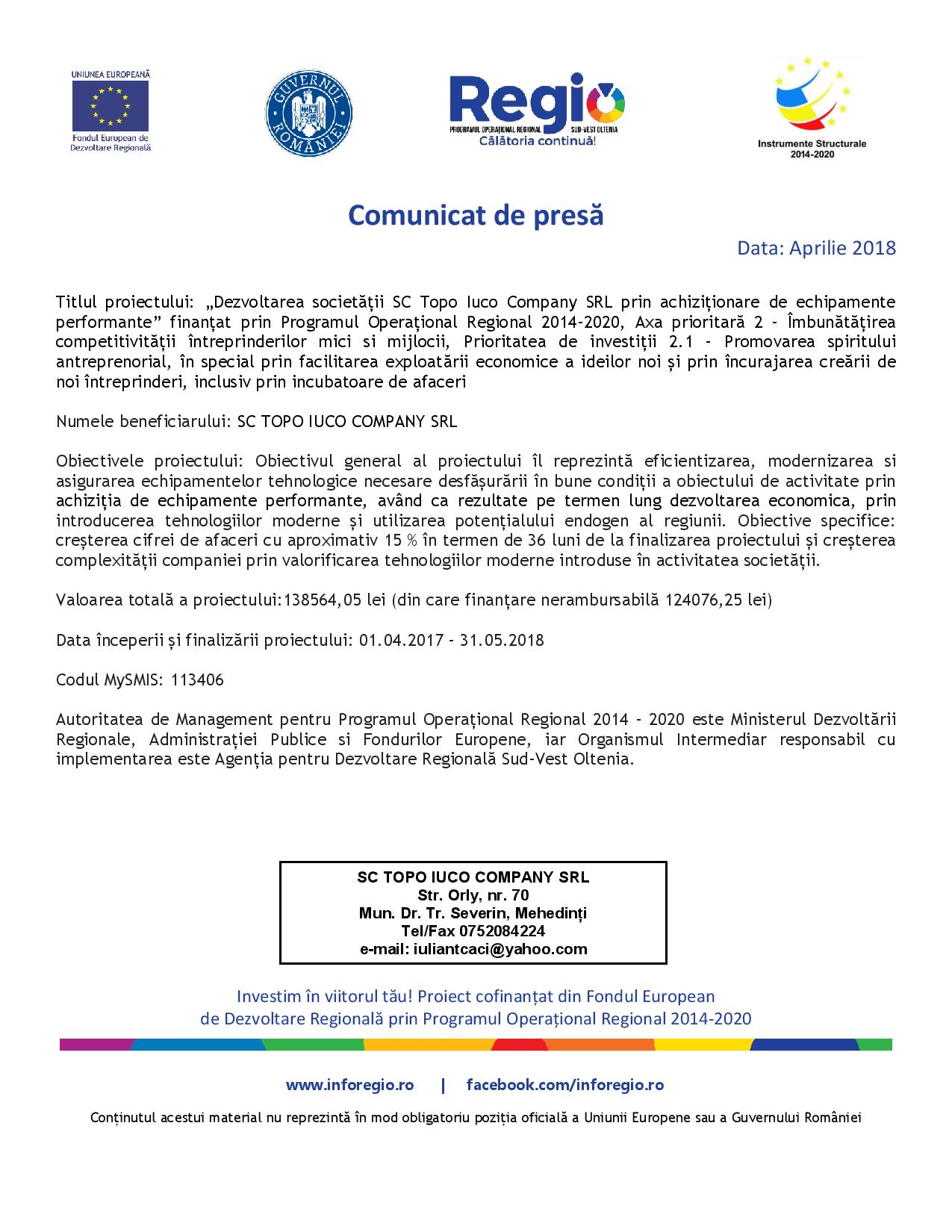 Dezvoltarea societății SC Topo Iuco Company SRL prin achiziționare de echipamente performante