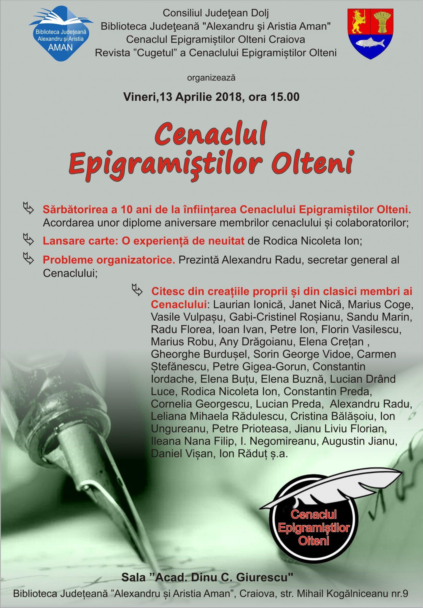 Craiova: Ședința lunară a Cenaclului Epigramiștilor Olteni, la Biblioteca Aman