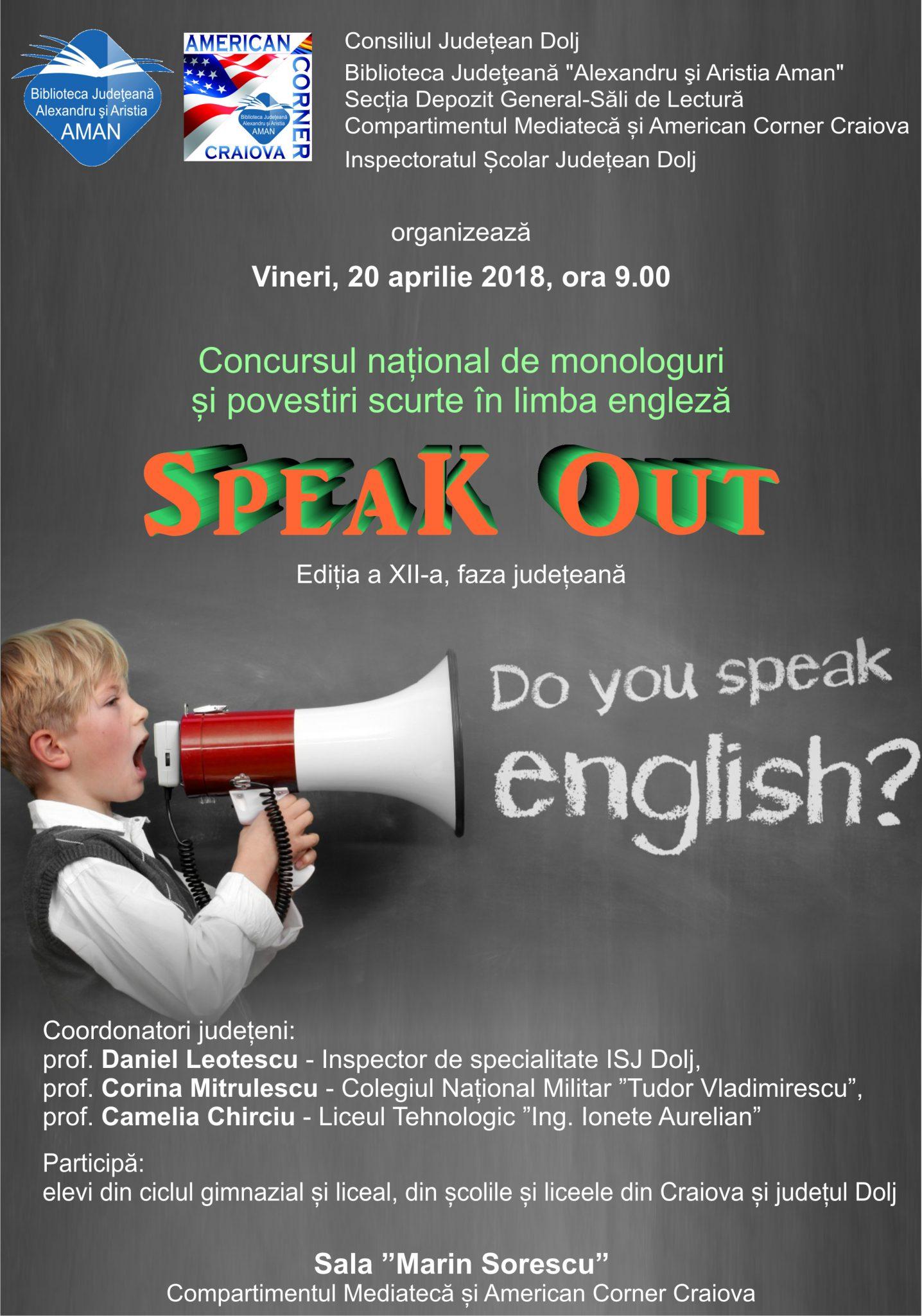 Concursul național de monologuri și povestiri scurte în limba engleză, faza județeană, la Biblioteca Aman