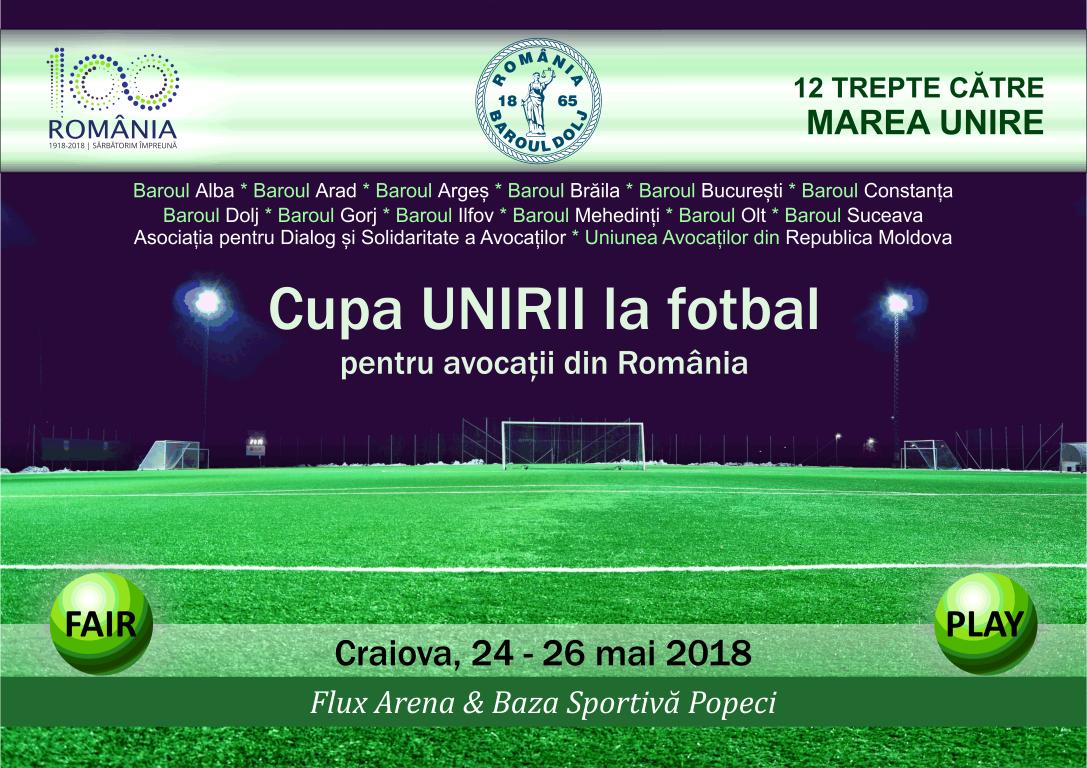 Baroul Dolj organizează Cupa Unirii la Fotbal pentru avocații români