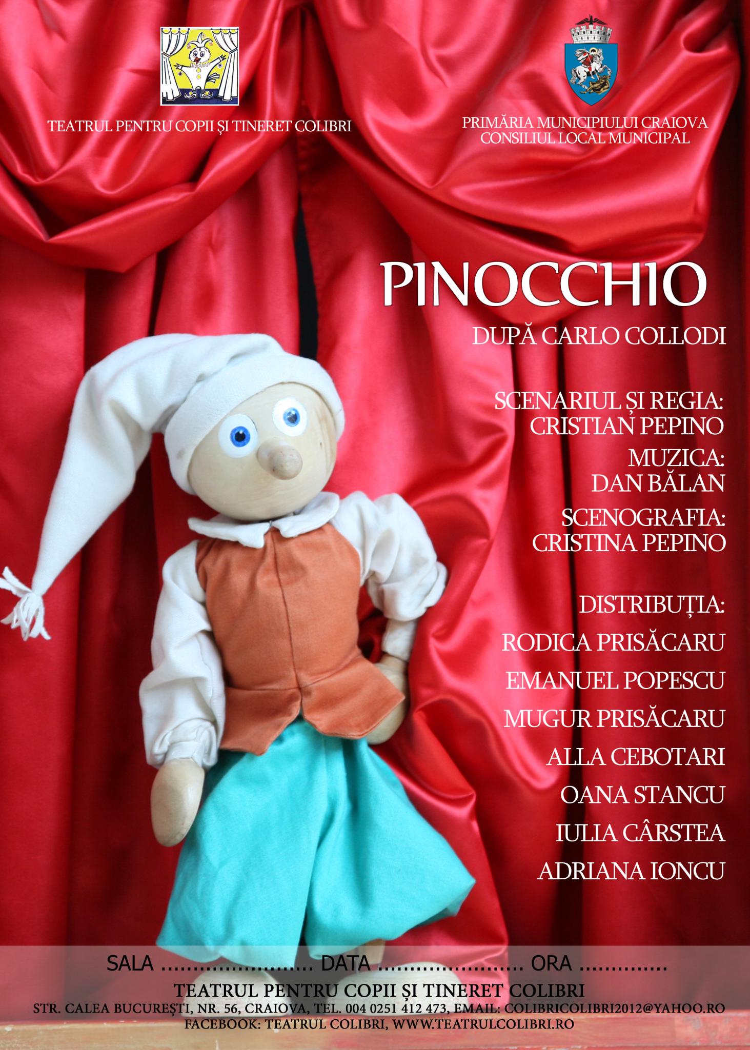 Teatrul Colibri Craiova pornește în călătorie cu Pinocchio prin Oltenia
