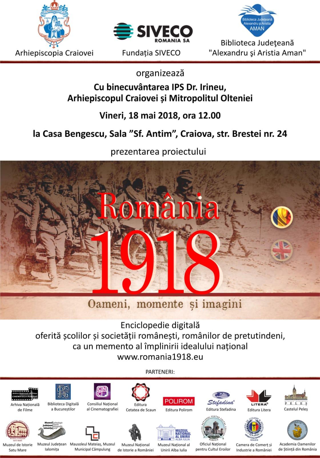"""Craiova: Enciclopedia digitală, """"România 1918. Oameni, momente și imagini"""", prezentată la Biblioteca Județeană"""