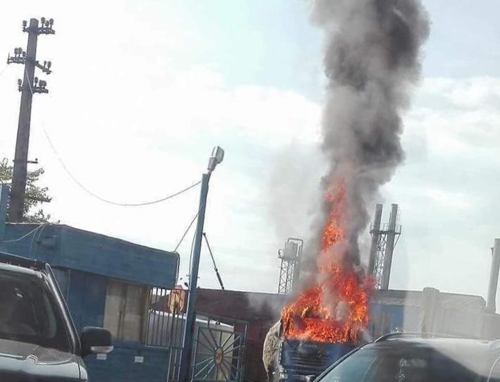 Incendiu la un camion în Târgu Jiu