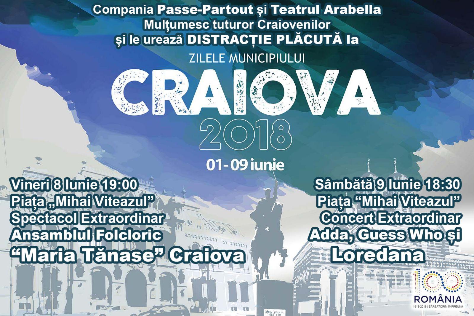 Program Zilele Craiovei – Sâmbătă, 09 iunie 2018