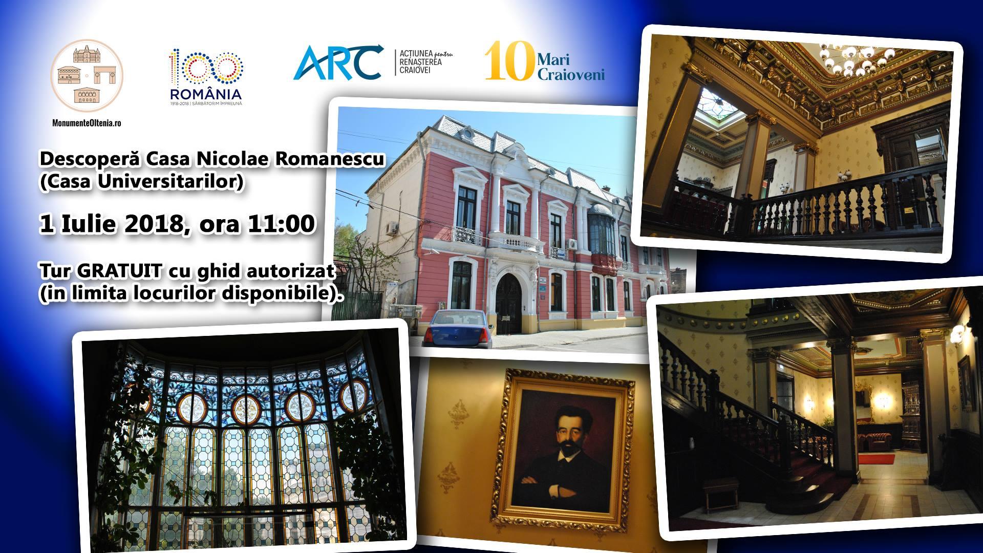 """Tur ghidat al Casei """"Nicolae Romanescu"""" în cadrul proiectului """"10 mari craioveni"""""""