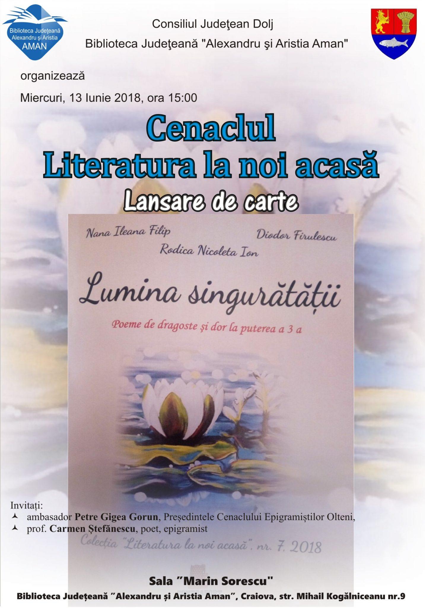 """Volumul """"Lumina singurătății. Poeme de dragoste și dor la puterea a 3-a"""", lansat la Biblioteca Județeană"""
