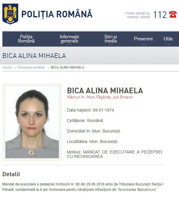 Alina Bica, dată în urmărire generală. Baroul Dolj se pregătește s-o excludă