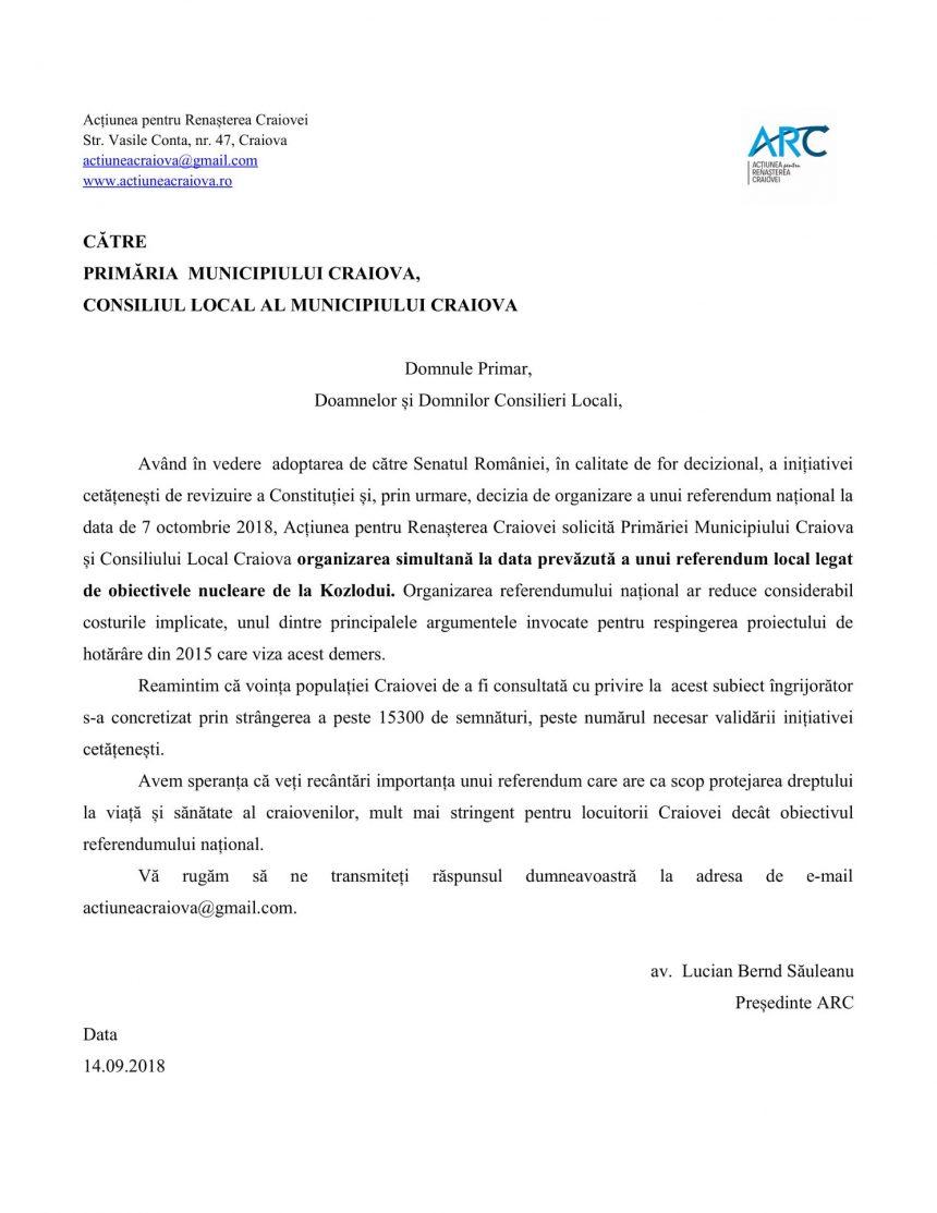 ARC solicită referendum anti Kozlodui simultan cu referendumul pentru familie