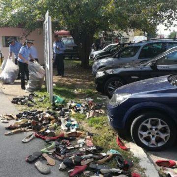 Trotuarele, noile târguri second-hand. 500 de perechi de încălțăminte au fost confiscate