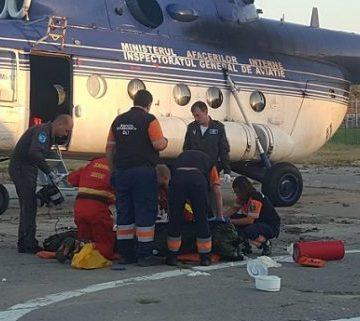 Bărbatul ars în incendiul de la Corabia, transportat cu elicopterul militar la București