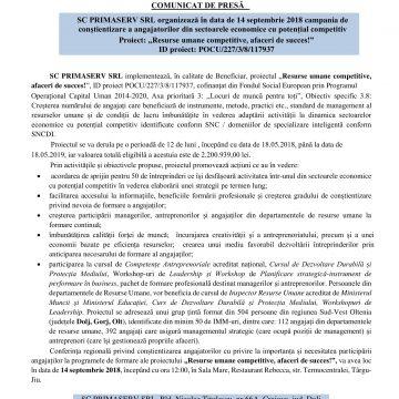 Campania de conștientizare a angajatorilor din sectoarele economice cu potențial competitiv