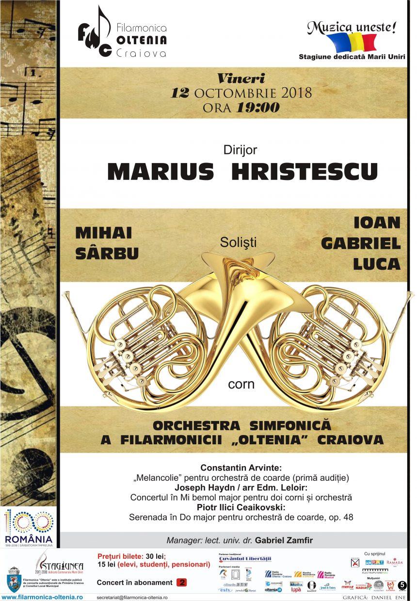 Craiova: Dublul concert pentru corn de Haydn, o raritate pe scena Filarmonicii
