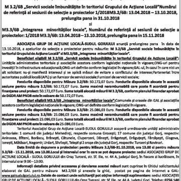 Anunţ privind prelungirea apelurilor de selecţie a proiectelor pentru M 3.2/6B şi M 3.3/6B