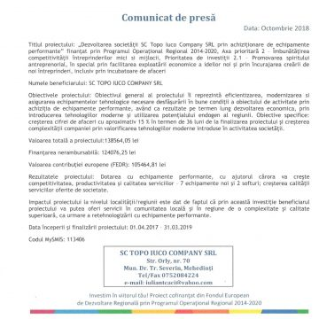 Dezvoltarea societăţii SC TOPO IUCO COMPANY SRL prin achiziţionarea de echipamente performante