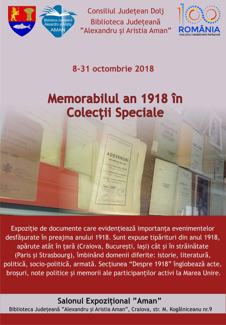 """Biblioteca Aman: """"Memorabilul an 1918 în Colecții Speciale"""", expoziție de carte și documente"""