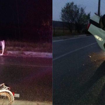 Un șef de post din Vâlcea s-a răsturnat cu mașina poliției