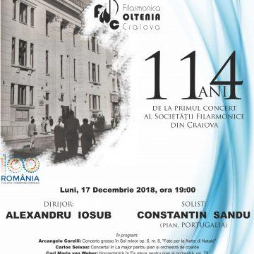 """Ziua Filarmonicii """"Oltenia"""" -114 ani de la primul concert al Societății Filarmonice din Craiova"""