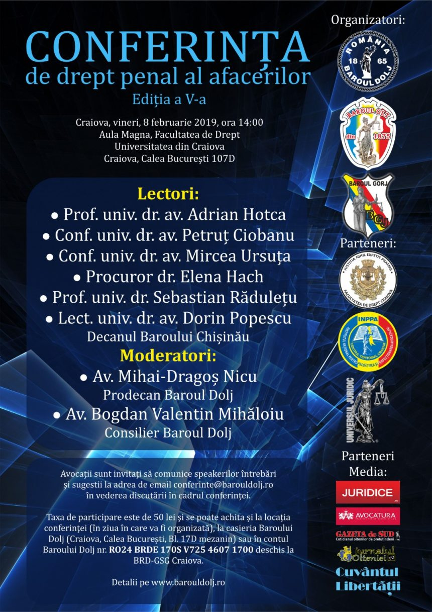 Conferință de drept penal al afacerilor la Craiova