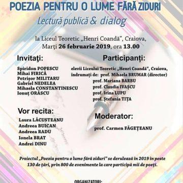 """Scriitorii craioveni, la Liceul Teoretic """"Henri Coandă"""" în cadrul """"Poezia pentru o lume fără ziduri – Lectură publică & dialog"""""""