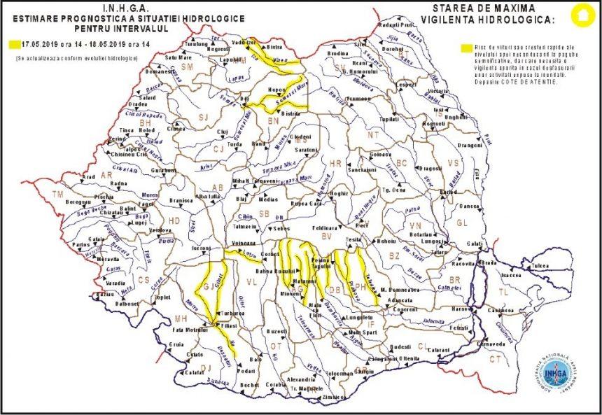Codul Galben de inundaţii pe râul Jiu, prelungit