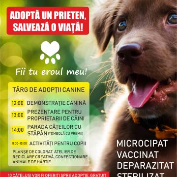 Târg de adopții canine și surprize pentru copii duminică, în Parcul Romanescu