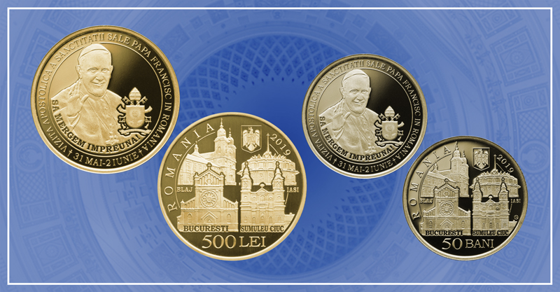 Monedă cu tema Vizita Apostolică a Sanctităţii Sale Papa Francisc în România, lansată de BNR
