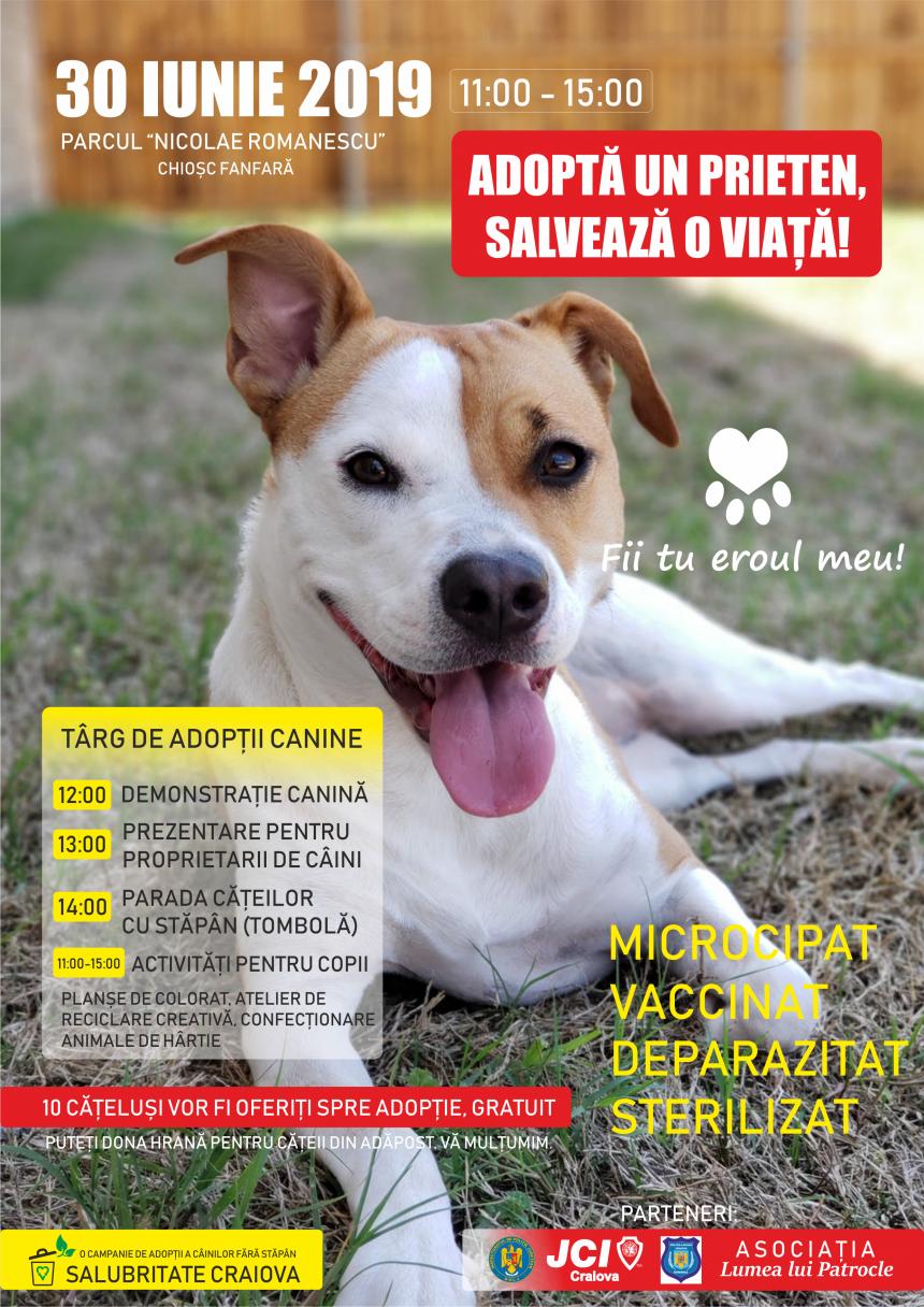 """Târgul de adopții canine """"Adoptă un prieten, salvează o viață!"""", la a doua ediție"""