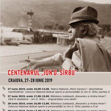 """Craiova. Centenarul """"Ion D. Sîrbu"""", la Biblioteca Aman"""