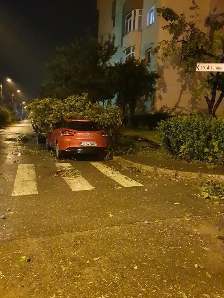 Furtuna in Craiova. Creanga cazuta pe o ambulanta, acoperis prabusit pe o teava de gaze