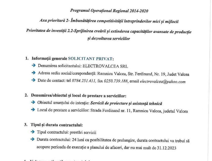 ANUNȚ DE INTENȚIE – Programul Operațional Regional 2014-2020 Axa prioritară 2- Îmbunătățirea competitivității întreprinderilor mici și mijlocii