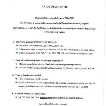 ANUNȚ DE INTENȚIE: solicitant – ELECTROVALCEA SRL