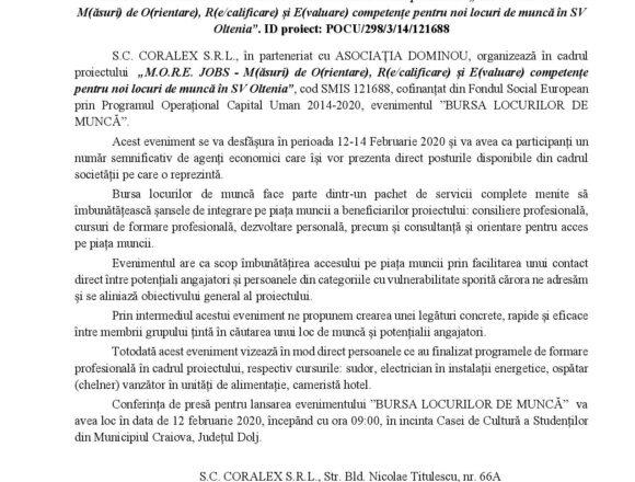 """BURSA LOCURILOR DE MUNCA în cadrul proiectului """"M.O.R.E. JOBS – M(ăsuri) de O(rientare), R(e/calificare) și E(valuare) competențe pentru noi locuri de muncă în SV Oltenia"""". ID proiect: POCU/298/3/14/121688"""